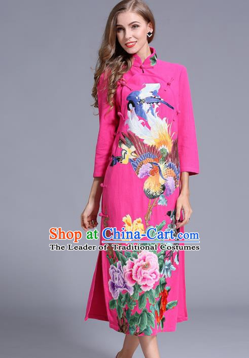 Chinese National Costume Stand Collar Pink Cheongsam Embroidered Peony Qipao Dress for Women