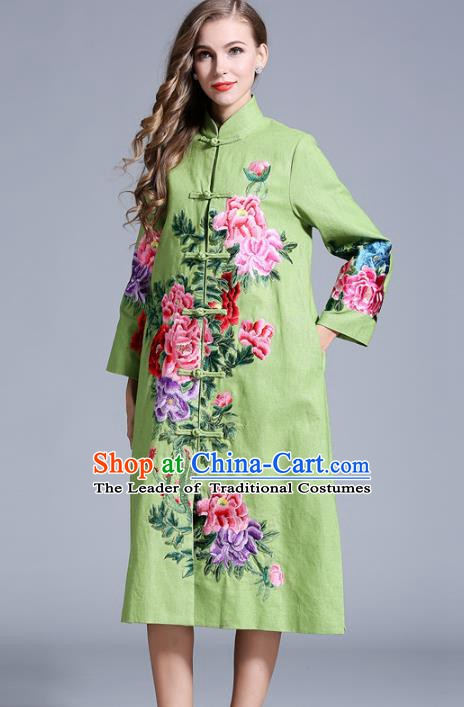 Chinese National Costume Green Plated Buttons Coats Traditional Embroidered Peony Dust Coats for Women