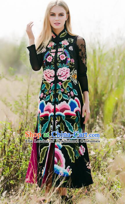 Chinese National Costume Traditional Embroidered Peony Black Vest Coat for Women