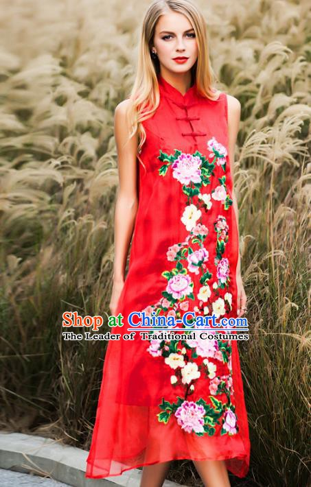 Chinese National Costume Stand Collar Red Cheongsam Embroidered Peony Sleeveless Qipao Dress for Women
