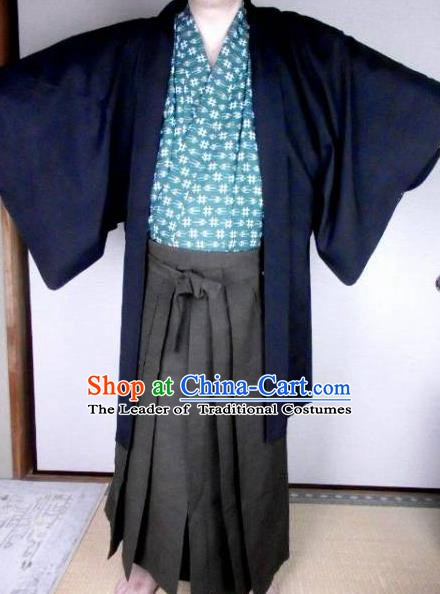 Japanese Samurai Kimonos Yukata Robe Traditional Wafuku Hakama Haori Costume for Men