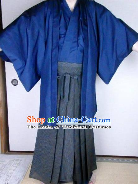 Japanese Samurai Kimonos Male Yukata Traditional Wafuku Hakama Haori Costume For Men