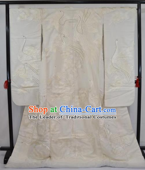 Ancient Japanese Wedding Garment Shiromuku Furisode Kimonos Traditional Yukata Dress Costume for Women