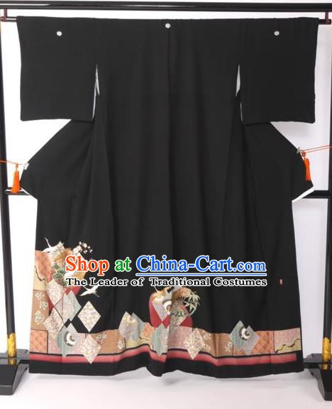 Japanese Samurai Garment Kimono Palace Black Yukata Robe Traditional Wafuku Hakama Costume for Men