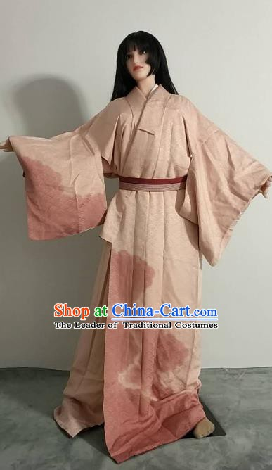 Ancient Japanese Geisha Garment Palace Pink Furisode Kimonos Traditional Yukata Dress Costume for Women