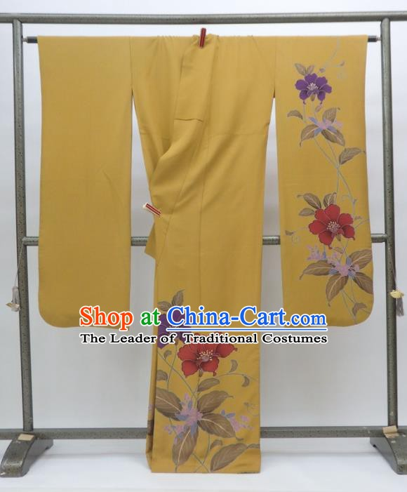 Ancient Japanese Geisha Garment Yellow Furisode Kimonos Traditional Yukata Dress Costume for Women
