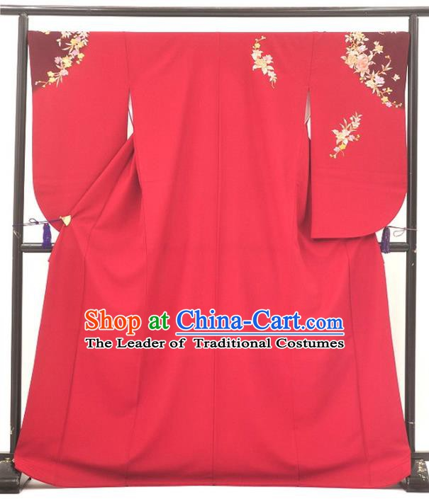 Ancient Japanese Geisha Garment Red Furisode Kimonos Traditional Yukata Dress Costume for Women