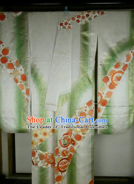 Ancient Japanese Geisha Garment Green Furisode Kimonos Traditional Yukata Dress Costume for Women