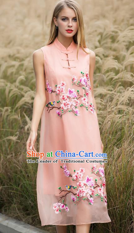 Chinese National Costume Pink Silk Cheongsam Embroidered Peach Blossom Qipao Dress for Women