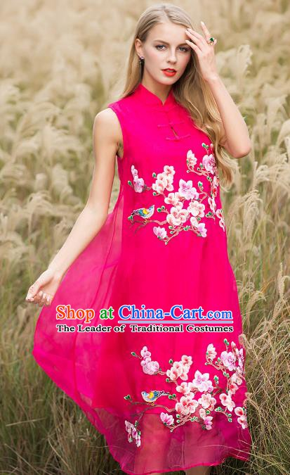 Chinese National Costume Rosy Silk Cheongsam Embroidered Peach Blossom Qipao Dress for Women