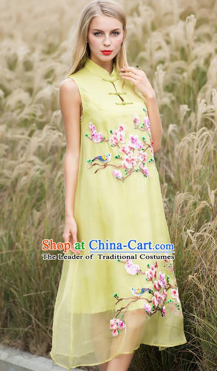 Chinese National Costume Yellow Silk Cheongsam Embroidered Peach Blossom Qipao Dress for Women