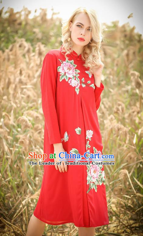 Chinese National Costume Red Cheongsam Embroidered Peony Qipao Dress for Women