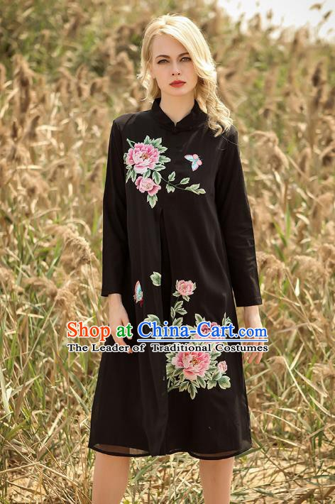 Chinese National Costume Black Cheongsam Embroidered Peony Qipao Dress for Women