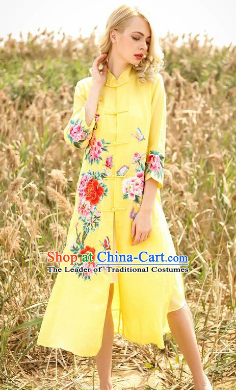 Chinese National Costume Yellow Cardigan Cheongsam Embroidered Peony Qipao Dress for Women
