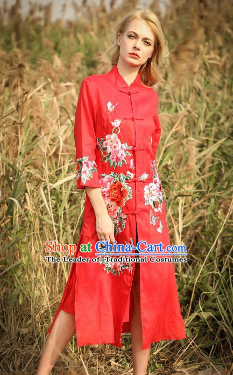 Chinese National Costume Red Cardigan Cheongsam Embroidered Peony Qipao Dress for Women