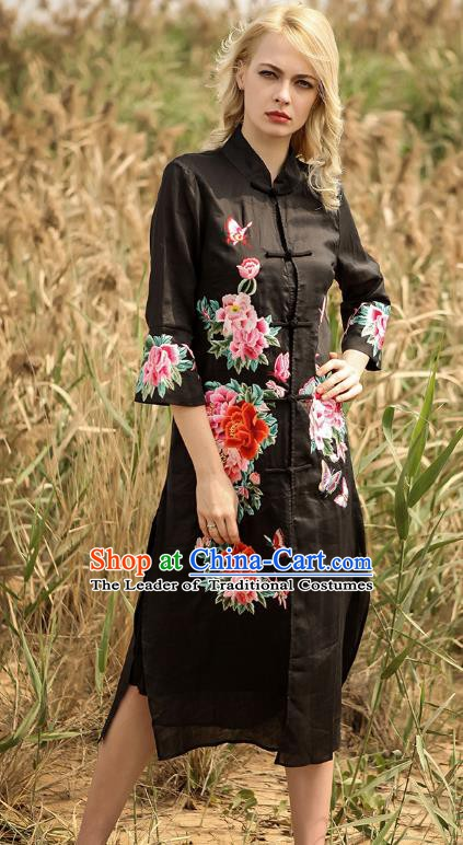 Chinese National Costume Black Cardigan Cheongsam Embroidered Peony Qipao Dress for Women
