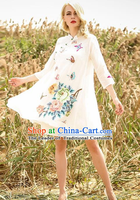 Chinese National Costume White Cheongsam Embroidered Peony Butterfly Qipao Dress for Women