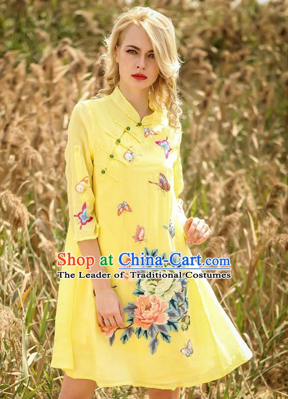 Chinese National Costume Yellow Cheongsam Embroidered Peony Butterfly Qipao Dress for Women