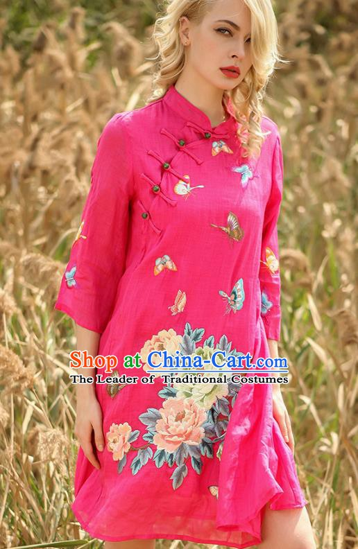 Chinese National Costume Rosy Cheongsam Embroidered Peony Butterfly Qipao Dress for Women