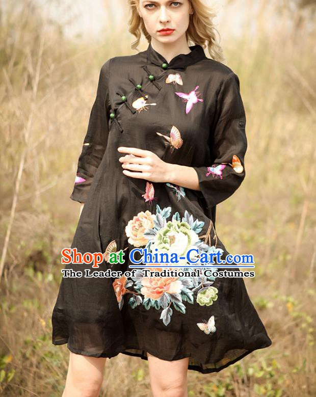 Chinese National Costume Black Cheongsam Embroidered Peony Butterfly Qipao Dress for Women