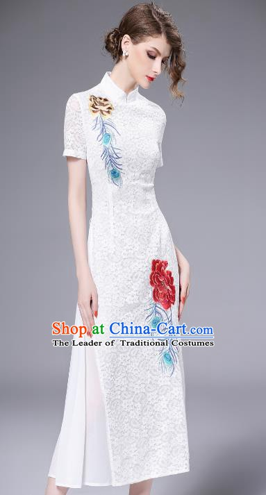 Chinese National Costume White Lace Cheongsam Embroidered Qipao Dress for Women