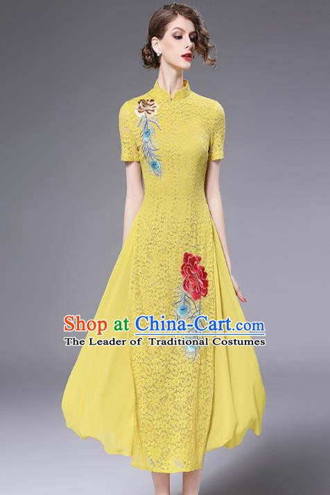 Chinese National Costume Yellow Lace Cheongsam Embroidered Qipao Dress for Women