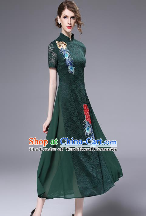 Chinese National Costume Green Lace Cheongsam Embroidered Qipao Dress for Women