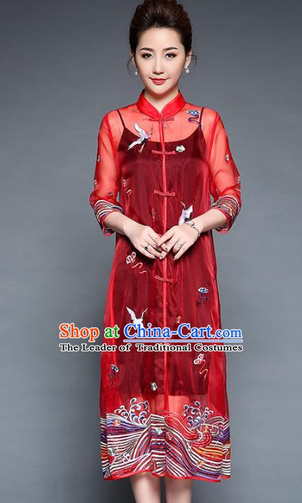 Chinese National Costume Red Plated Buttons Coats Traditional Embroidered Cardigan for Women