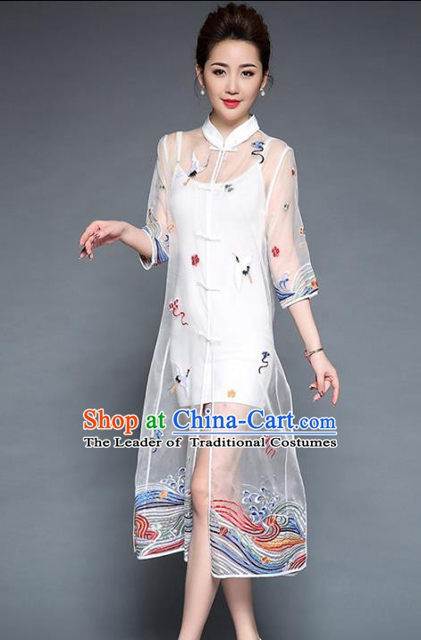 Chinese National Costume White Plated Buttons Coats Traditional Embroidered Cardigan for Women