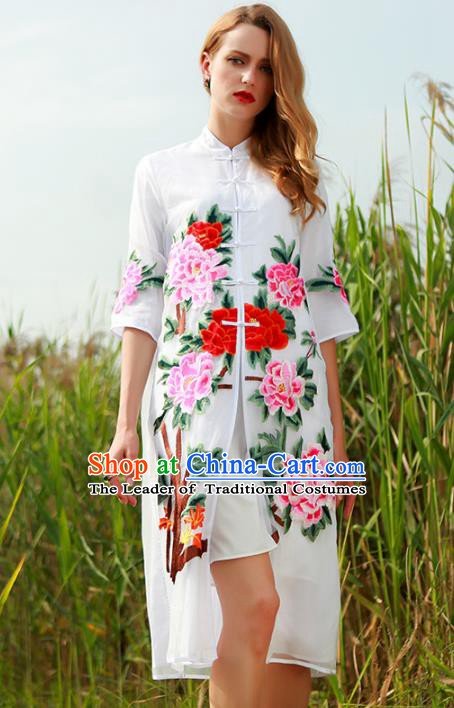 Chinese National Costume White Plated Buttons Coats Traditional Embroidered Peony Cardigan for Women