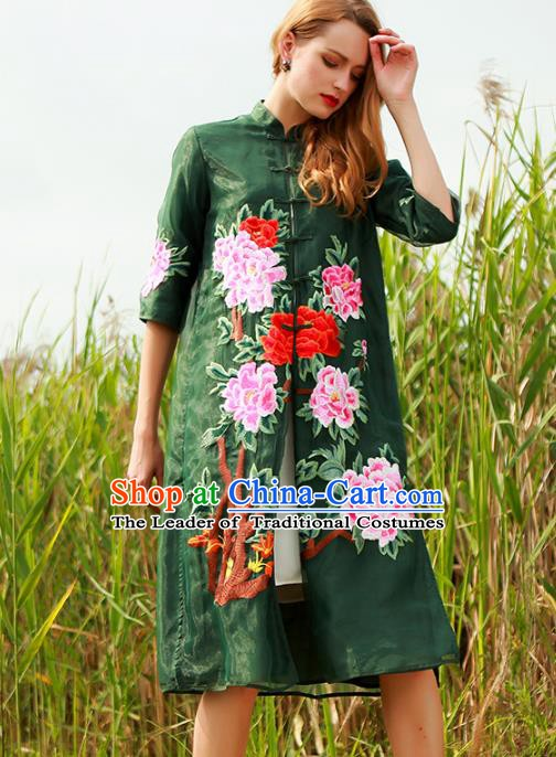 Chinese National Costume Green Plated Buttons Coats Traditional Embroidered Peony Cardigan for Women