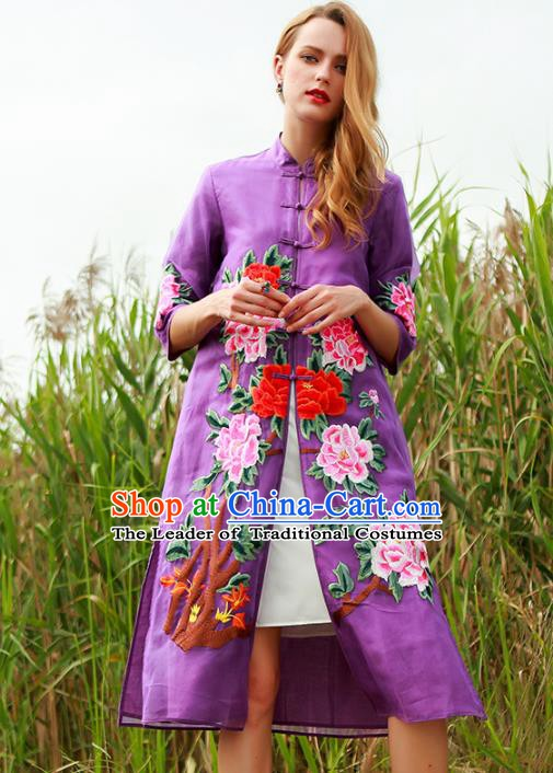 Chinese National Costume Purple Plated Buttons Coats Traditional Embroidered Peony Cardigan for Women
