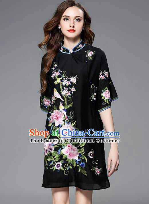 Chinese National Costume Embroidered Peony Cheongsam Black Qipao Dress for Women
