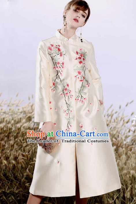 Chinese National Costume Plated Buttons White Coats Traditional Embroidered Dust Coat for Women