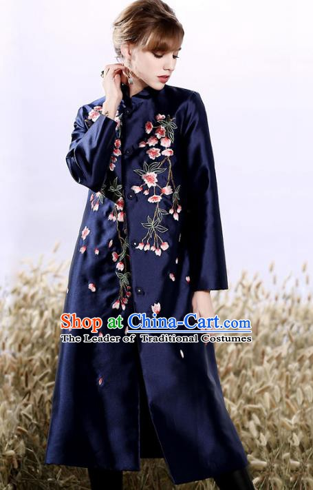 Chinese National Costume Plated Buttons Navy Coats Traditional Embroidered Dust Coat for Women