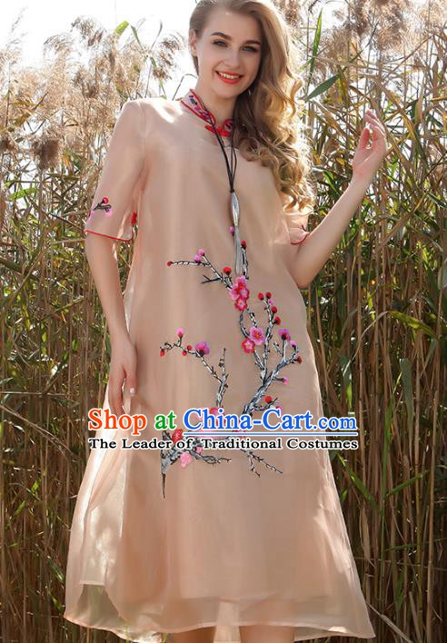 Chinese National Costume Champagne Organza Cheongsam Embroidered Plum Blossom Qipao Dress for Women