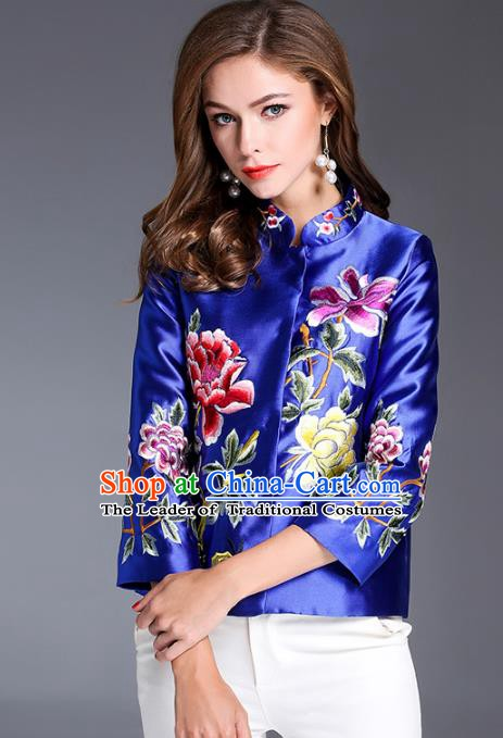 Chinese National Costume Traditional Embroidered Peony Blouse Blue Shirts for Women