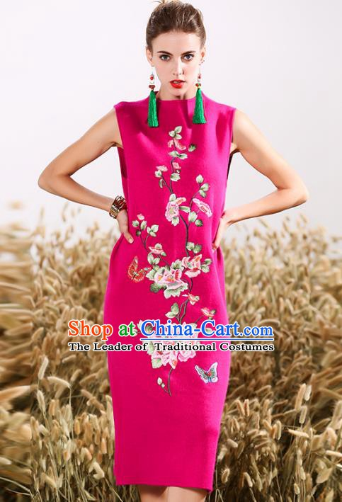 Chinese National Costume Embroidered Butterfly Pink Cheongsam Vintage Qipao Dress for Women