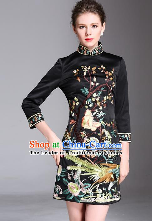 Chinese National Costume Stand Collar Embroidered Cheongsam Vintage Black Qipao Dress for Women