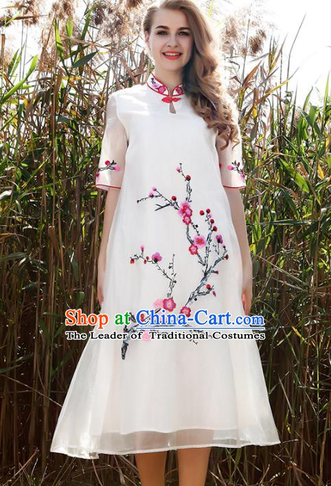 Chinese National Costume White Organza Cheongsam Embroidered Plum Blossom Qipao Dress for Women