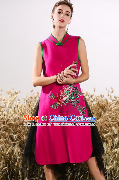 Chinese National Costume Embroidered Stand Collar Cheongsam Vintage Rosy Qipao Dress for Women