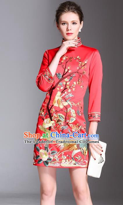 Chinese National Costume Stand Collar Embroidered Cheongsam Vintage Red Qipao Dress for Women