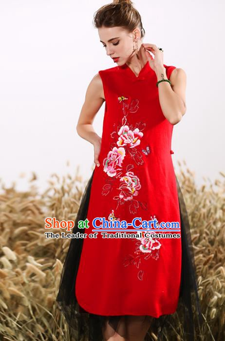 Chinese National Costume Embroidered Peony Red Cheongsam Vintage Veil Qipao Dress for Women