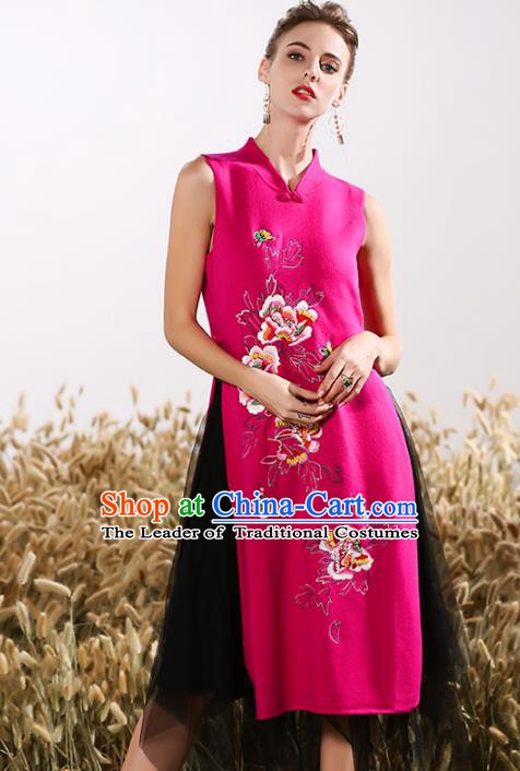 Chinese National Costume Embroidered Peony Rosy Cheongsam Vintage Veil Qipao Dress for Women