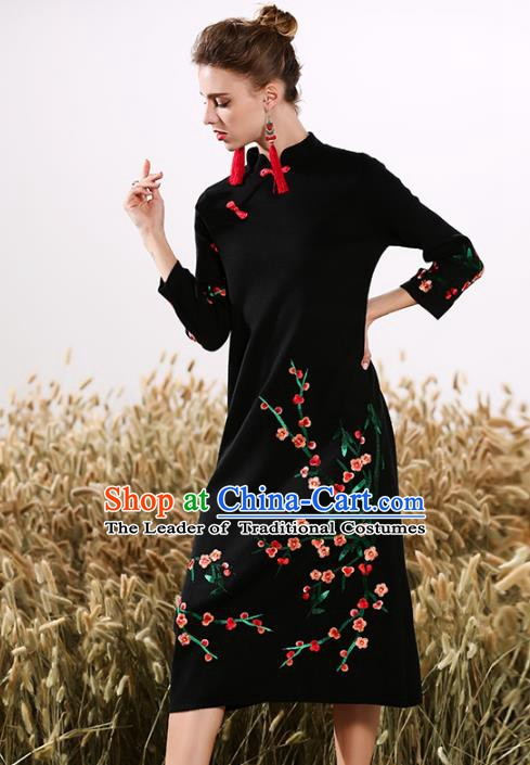 Chinese National Costume Embroidered Plum Blossom Cheongsam Black Qipao Dress for Women