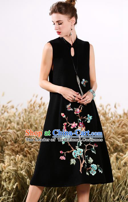 Chinese National Costume Cheongsam Embroidered Peony Black Qipao Dress for Women