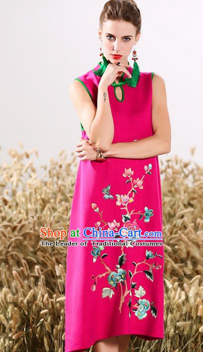 Chinese National Costume Cheongsam Embroidered Peony Rosy Qipao Dress for Women