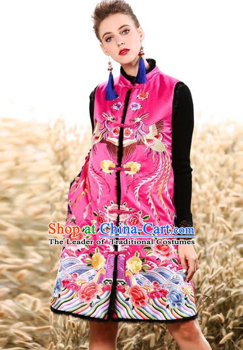 Chinese National Costume Traditional Embroidered Peony Pink Vests Waistcoat for Women