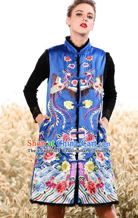 Chinese National Costume Traditional Embroidered Peony Blue Vests Waistcoat for Women