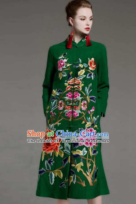 Chinese National Costume Embroidered Peony Coats Traditional Green Dust Coat for Women